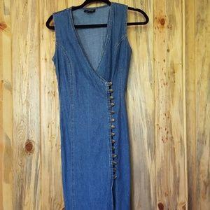 80's vintage button up denim dress